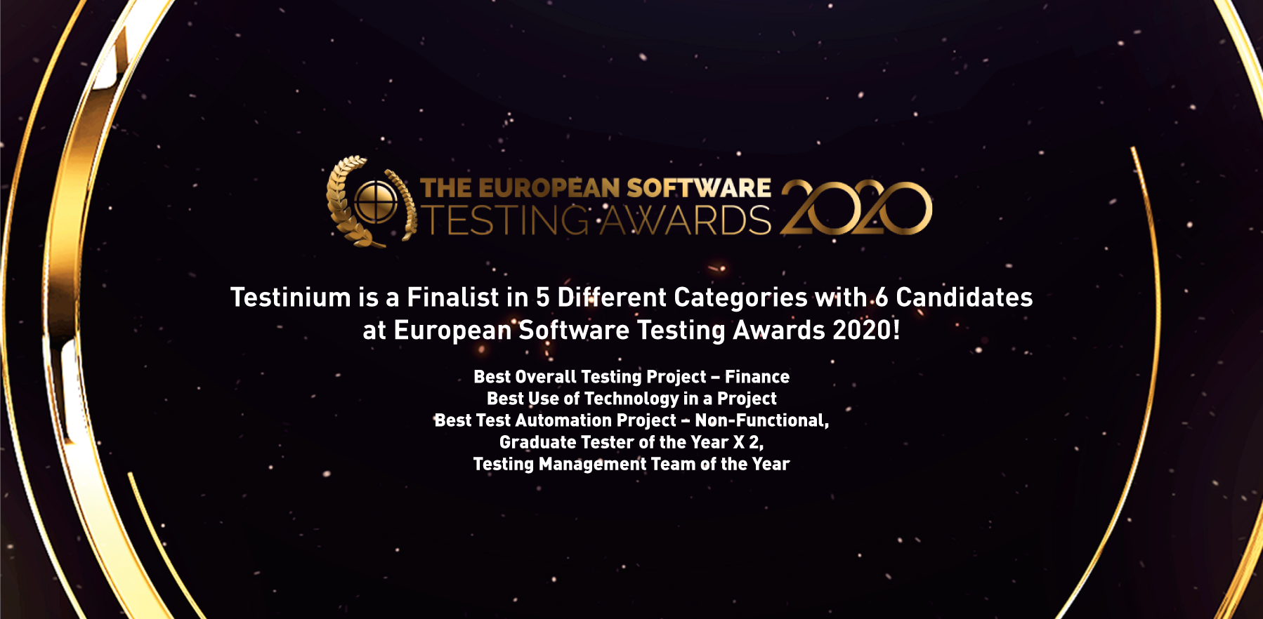 Testinium is a Finalist in Five Different Categories with 6 Candidates at European Software Testing Awards 2020!
