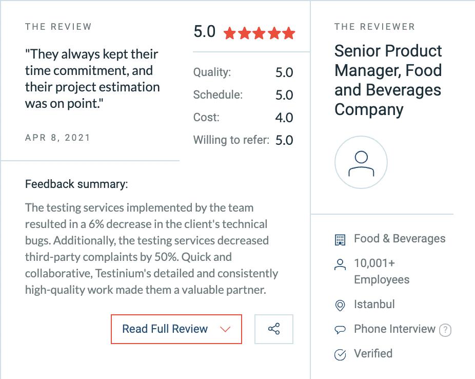 testinium customer review